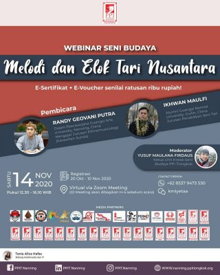 WEBINAR SENI BUDAYA 2020🎭 Halo para pecinta seni! Indonesia merupakan negara yang kaya akan budaya dan etnis, sehingga menjadikan namanya tersohor hingga ke mancanegara. Sebagai generasi muda, sudah seharusnya kita mengenal dan menjadikan budaya sebagai identitas bangsa ini. Namun, sudahkah kita mengenal lebih dalam tentang keanekagaraman budaya kita? Kami memanggil semua generasi bangsa yang aktif dan kreatif untuk mengikuti Webinar Seni Budaya 2020 yang bertemakan