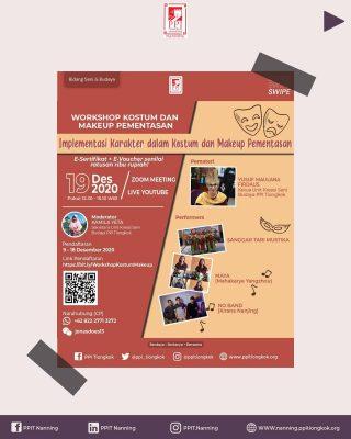 Halo para pecinta seni!🎭 Kali ini Bidang Seni Budaya PPI Tiongkok akan mengadakan acara yang baru lagi looh Tentunya acara ini cocok banget untuk kalian yang berkecimpung dan tertarik pada dunia seni dan pementasan. Acara apa tuh? WORKSHOP KOSTUM DAN MAKEUP PEMENTASAN Acaranya akan digelar pada : 🗓 : Sabtu, 19 Desember 2020 ⏰: 12.30 - 15.10 WIB 📍 : Zoom & Youtube PPIT Tiongkok E-Sertifikat dan E-Voucher belanja senilai ratusan ribu rupiah‼️ Tunggu apalagi? Ayo segera daftarkan diri kalian di : https://bit.ly/WorkshopKostumMakeup Setelah itu kalian bisa langsung bergabung ke grup WhatsApp : https://chat.whatsapp.com/JvgBUmlZOGW1W4PGYvwntn 📞CP : Yonas Wechat ID : jonasdoes13 WA : +6282227713272 Salam Perhimpunan PPI Tiongkok 2020-2021 Berdaya-Berkarya-Bersama www.ppitiongkok.org