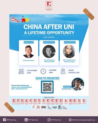 WEBINAR: CHINA AFTER UNI – A LIFETIME OPPORTUNITY Have you ever thought of possible opportunities in China after graduating from your university? Or, are you graduating soon and wondering how career landscape in China is like? 🤔 Our honored speakers from Shanghai Indonesian Professionals (SIP) are here to answer your questions. 🗣 PERMIT Shanghai are lucky enough to invite Emmanuel Dean, Andreas Rentimun and Anastasia Kosasih to share their experience working and doing business in Shanghai. 🙌🏻 🕓 October 24 2020, 16:00 WIB Come join our free webinar where they'll be glad to share their stories, tips, and suggestions to help kick start your professional career journey! 👣 Remember to register by scanning the QR code on our poster! 📮
